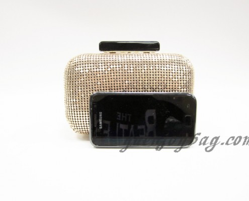 Fashion Light gold aluminium sequins clutch bag contrast with mobile