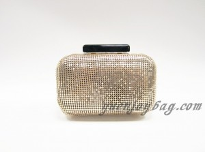 Fashion Light gold aluminium sequins clutch bag with metal frame