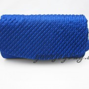 Fold over ruffled Blue satin evening bag