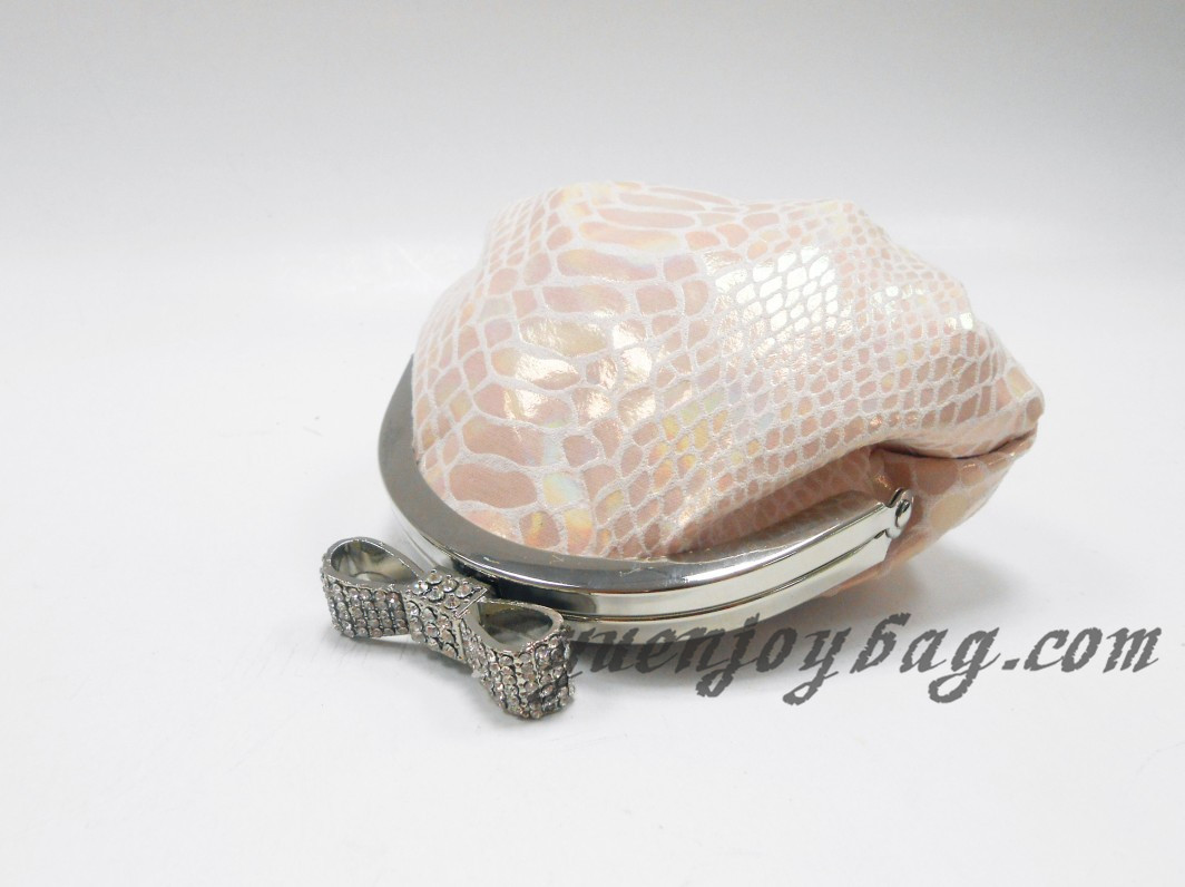 Snake Skin Embossed PU Leather little coin purse with metal frame