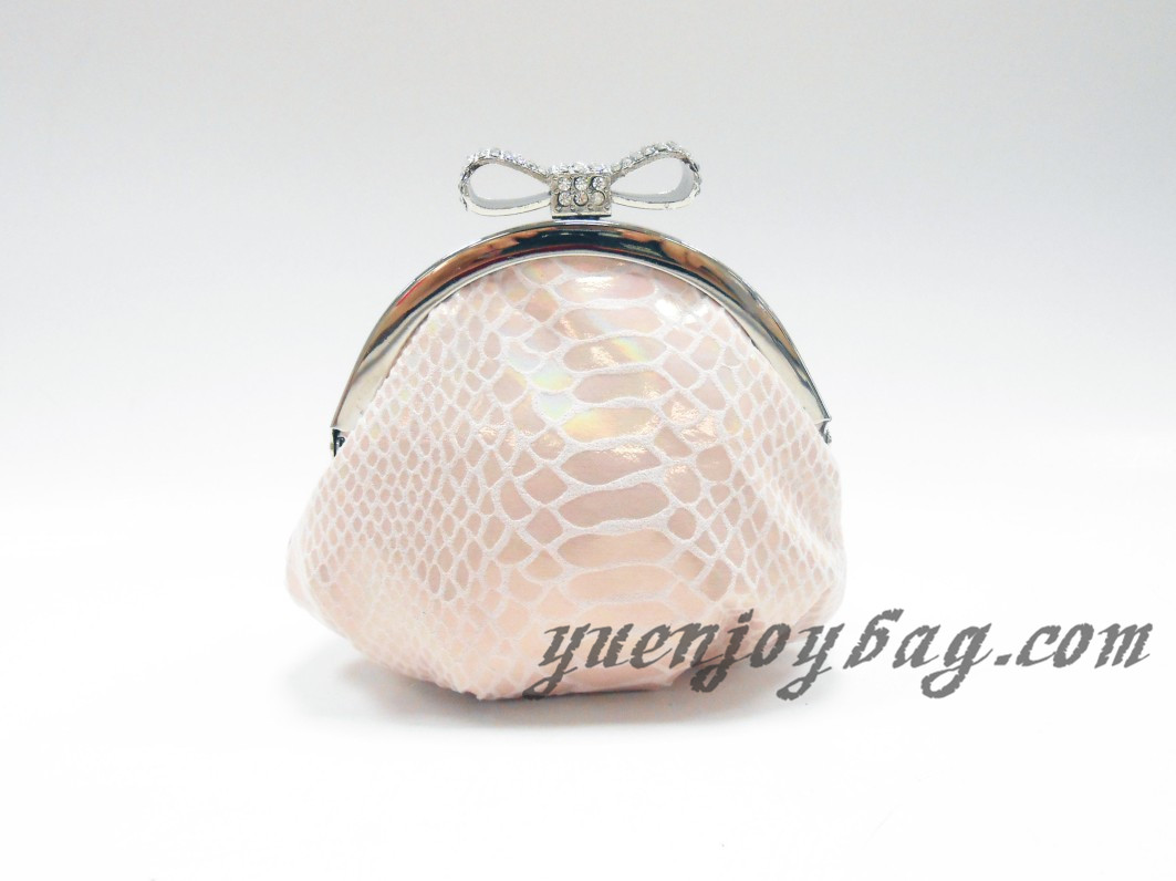 Snake Skin Embossed PU Leather little coin purse with rhinestone bowknot closure