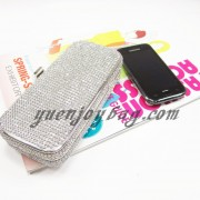 shiny rhinestone diamond silver clutch bag compare with mobile