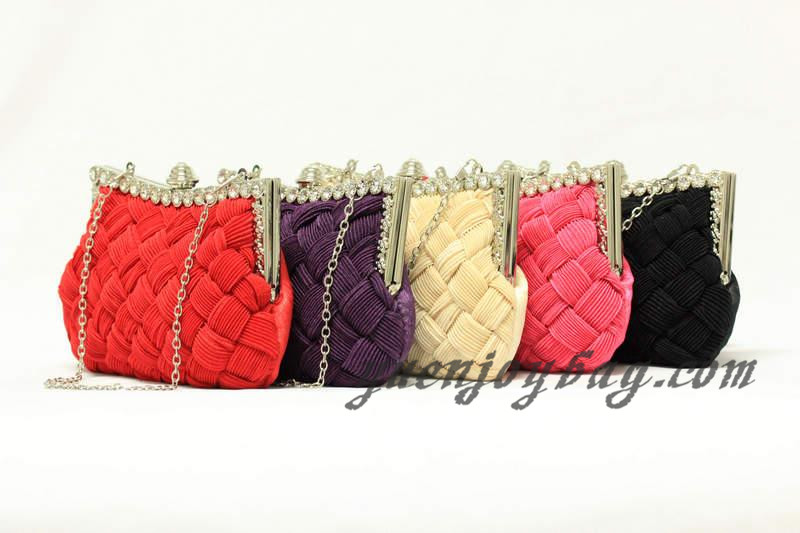 woven knit Pleated satin bridal clutch bag