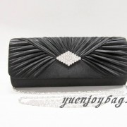 Black satin pleated evening bag with diamond