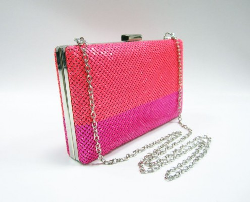 4mm metal sequin Neon color silver metal frame evening purse bag - side view