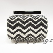Black and White knitted Tribal and aztec patterns evening purse handbag