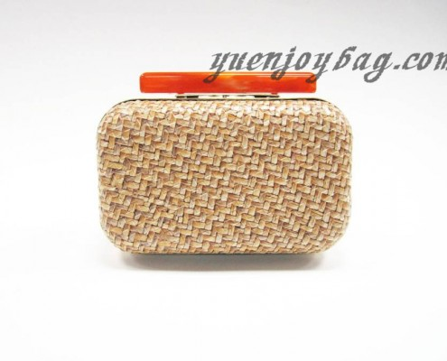 Brown straw interlaced PU faux leather clutch bags