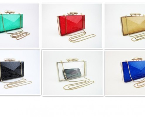 Celebrities Neon Candy color transparent clear acrylic clutch bag with gold snake chain - color option