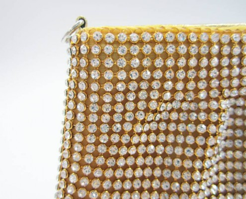 Luxury Gold crystal rhinestone ladies coin purse wallet from party bag manufacturer - detail view