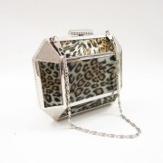 Metal evening hardcase leopard animal print bag