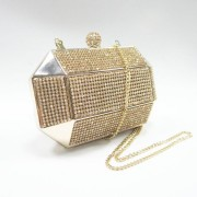 Metal frame gold box crystal rhinstones bridal evening bag clutch purse to match evening dress