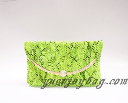 Neon green snake skin PU faux leather women's clutch bag with diamond metal decoration