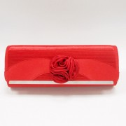 Red pleated satin flower evening purse clutch bag