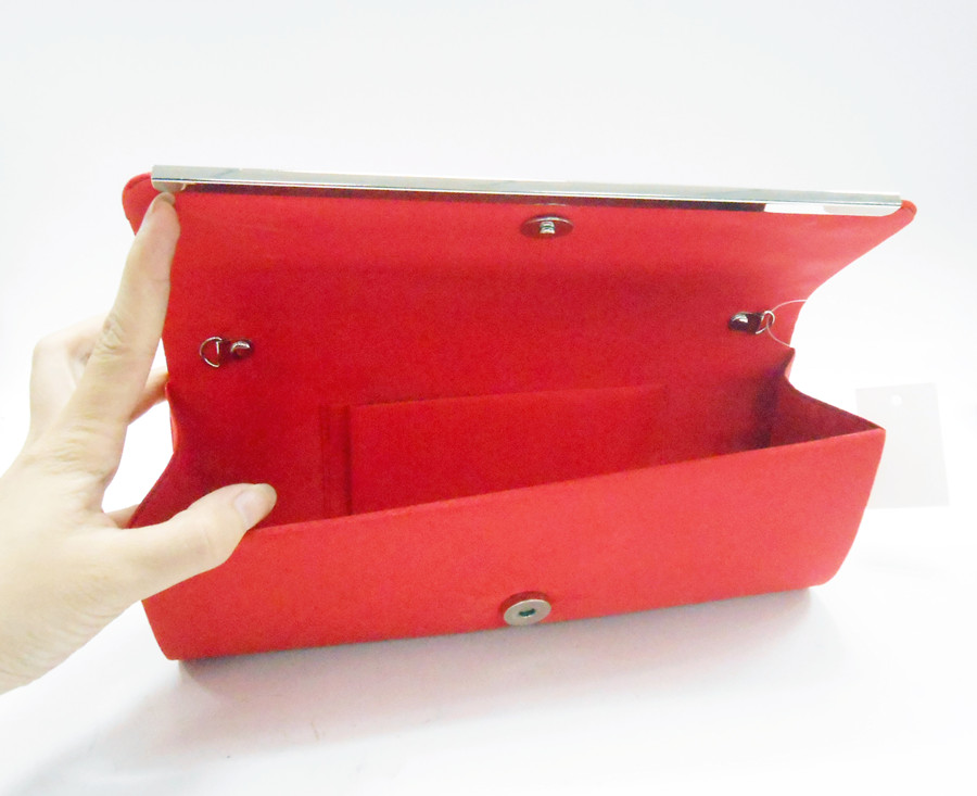 Red Pleated Satin Flower Evening Purse Clutch Bag Supplier | Yuenjoy Bag