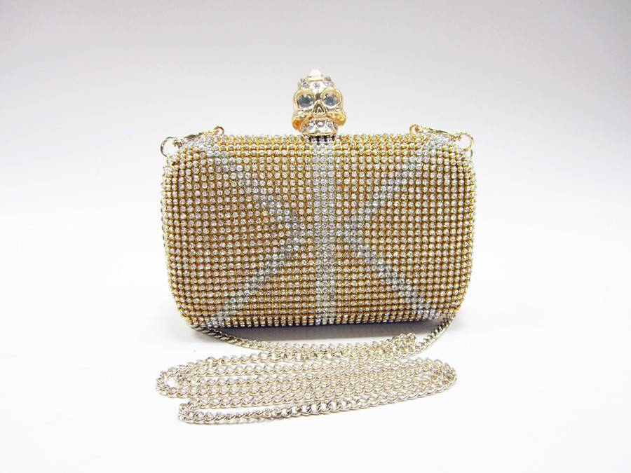 e39ee281a9 Skull clasp metal frame rhinestone diamond British UK flag clutch bag