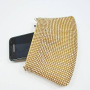 Small gold pouch ladies clutch purse with crystal rhinestone - contrast with mobile
