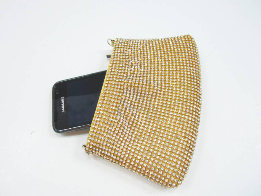 Small Gold Pouch Las Clutch Purse With Crystal Rhinestone Contrast Mobile