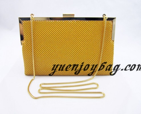 Candy color yellow Aluminium metal sequins beautiful evening purse clutch bag