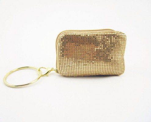 Cute gold metal sequin coin purse for iphone with big quoit