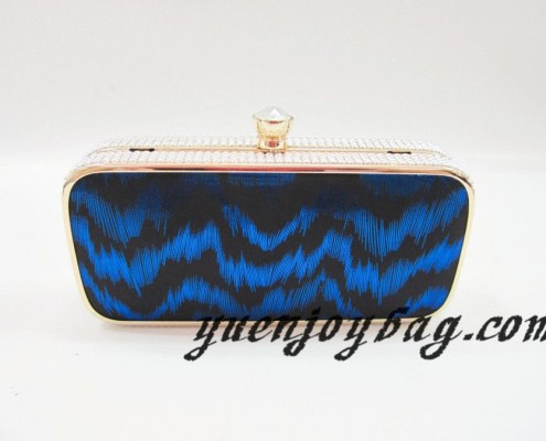 Gold metal frame Blue wave pattern PU leather clutch bags
