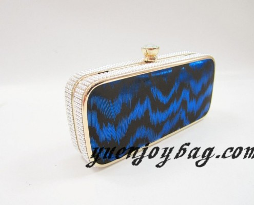 Gold metal frame Blue wave pattern PU leather clutch bags with rhinestone clasp - side view