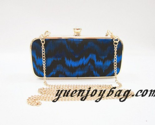 Gold metal frame Blue wave pattern PU leather women's clutch chain bags with rhinestone clasp