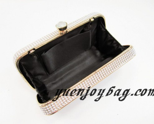 Ladies fashion Gold metal frame Blue wave pattern PU leather clutch bags with rhinestone clasp - lining view