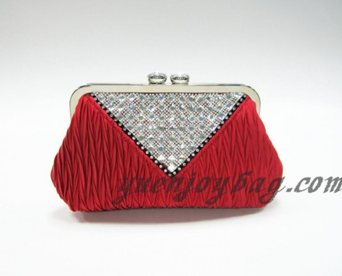 Red pleated satin crystal rhinestone diamond metal frame clutch purse from China supplier