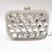 Shiny silver crystal rhinestone diamond metal hard box clutch party bag
