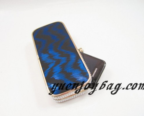 brand design gold metal frame Blue wave pattern PU leather clutch bags with rhinestone clasp - contrast with mobile