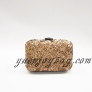 Brown shiny bling sequins material small ladies evening purse clutch bag with metal frame box hardcase