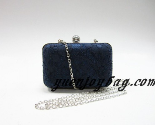 China Blue lace satin evening purse clutch bag with metal frame