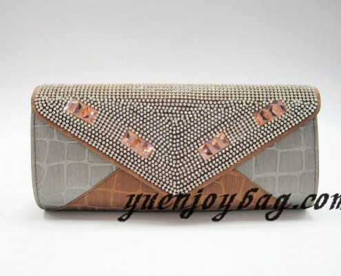 Gray and brown plaid PU leather evening clutch bag with crystal rhinestone diamond
