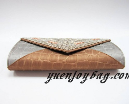 Gray and brown plaid PU leather evening clutch bag with crystal rhinestone diamond - bottom view