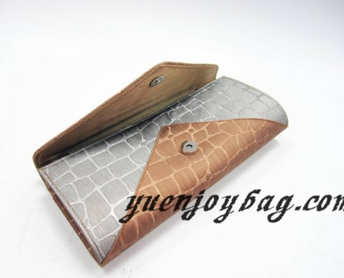 Gray and brown plaid PU leather evening clutch bag with crystal rhinestone diamond - open view