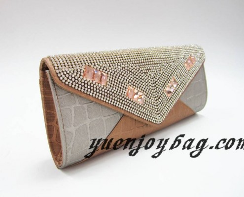 Gray and brown plaid PU leather evening party handbag with crystal rhinestone diamond - side view