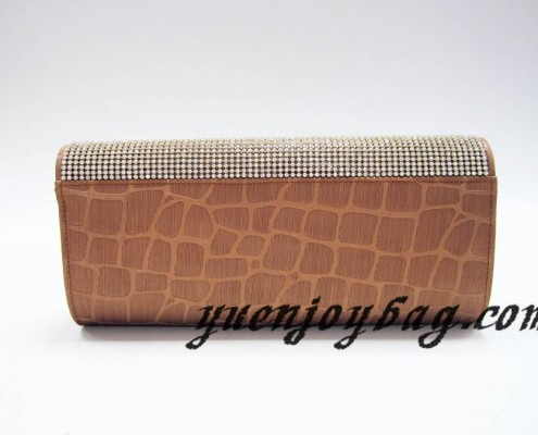 Gray and brown plaid PU leather girls' evening clutch bag with crystal rhinestone diamond - back view