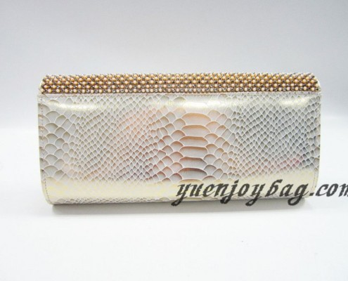 Wholesale Gold pearl rhinestone diamond snake skin PU leather evening bags from China manufacturer - back view