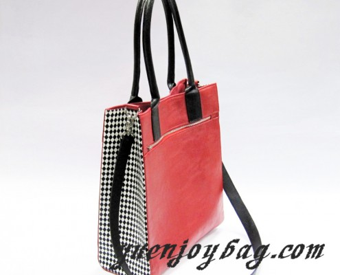 Black White plaid Red PU leather totes handbag