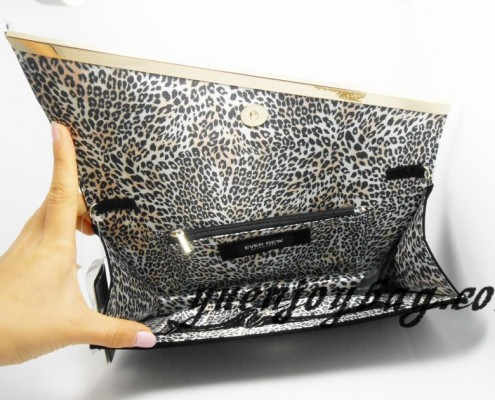 Black velvet Rhinestone decorated Branded clutch bag - lining view