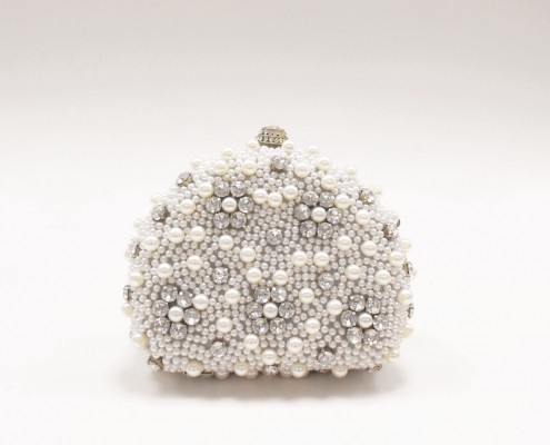Hot sale Luxury cream beaded wedding clutch bags