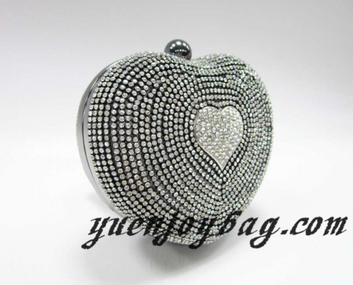 Ladies' Diamond heart shaped clutch bags - side view