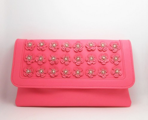 Lady's Pink pu leather pearl flower bridesmaid clutch bag