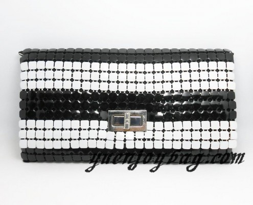 Women's Black and White striped metal mesh clutch bags