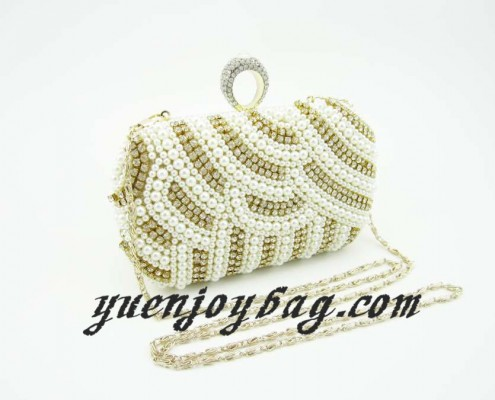 Ladies Finger Rings Clasp Pearl Bead Rhinestone Bridal handbag Wedding Clutch Bag