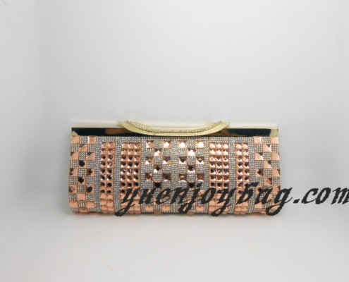 Women's Orange Rhinestone Clasp Frame Crystal Rhinestone Gold PU Leather Evening Clutch Purse