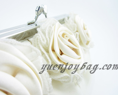 Ladies Floral Decorated Satin and Organza Wedding Clutch Bag with Bead Chain - detail view