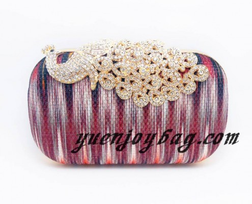 Women's Diamond Peacock Clasp Metal Frame Graduate Color Cotton Evening Clutch Bag