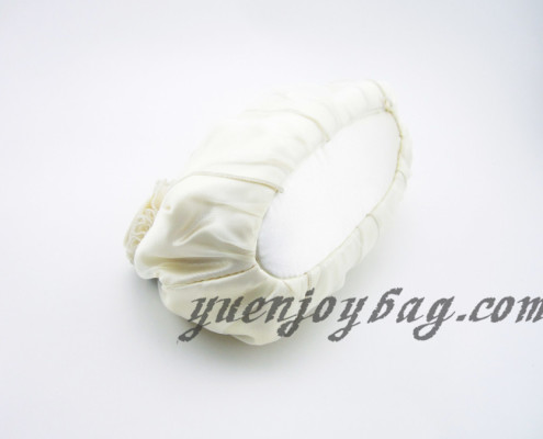 Women's Floral Decorated Satin and Organza Wedding Clutch Bag with Bead Chain - bottom view