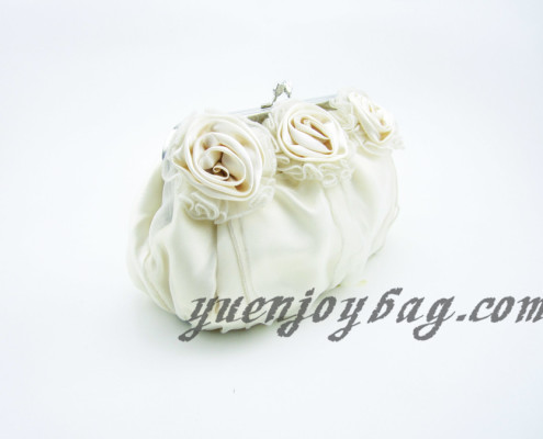 Women's Floral Decorated Satin and Organza Wedding Clutch Bag with Bead Chain - side view